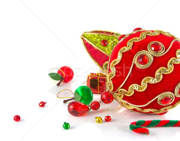 Noel dekorasyon arka plan kırmızı altın kutlama Stok fotoğraf © myimagine