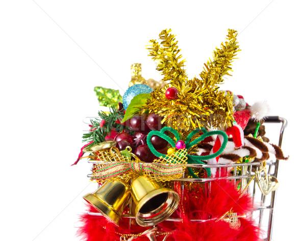 Noel alışveriş sepeti parti altın geyik satış Stok fotoğraf © myimagine
