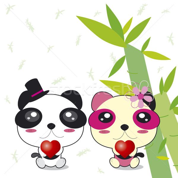 Panda çift doğa dizayn arka plan yeşil Stok fotoğraf © myimagine