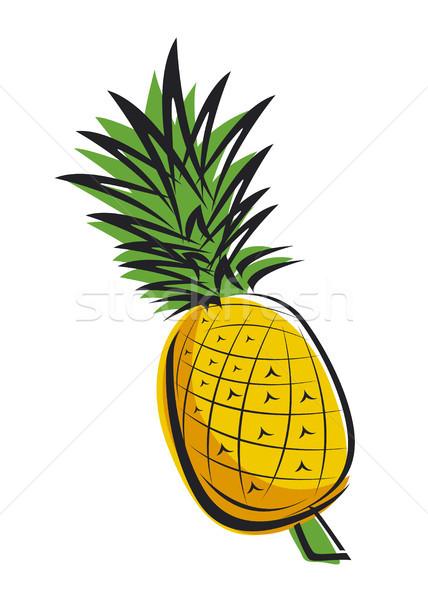 Ananas dizayn gıda meyve arka plan yeşil Stok fotoğraf © myimagine