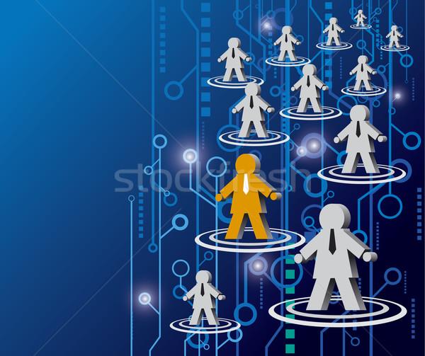 Sosyal ağ bilgisayar dizayn ağ mavi bilim Stok fotoğraf © myimagine