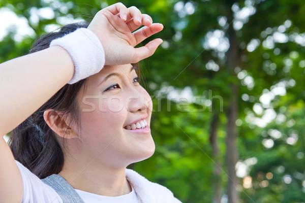 Asya kadın yorgun egzersiz kadın gülümseme Stok fotoğraf © myimagine
