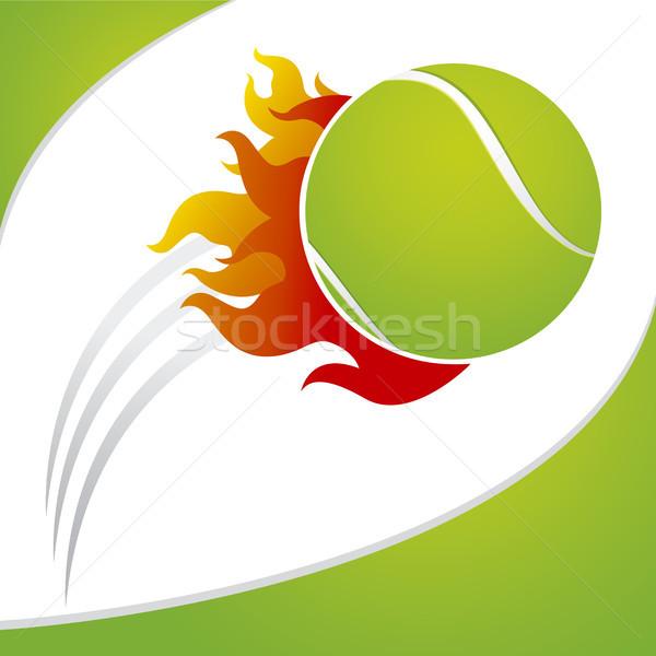 Tenis topu yangın yeşil tenis top beyaz Stok fotoğraf © myimagine