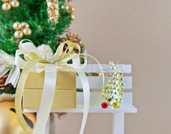 Noel dekorasyon parti sandalye beyaz şerit Stok fotoğraf © myimagine