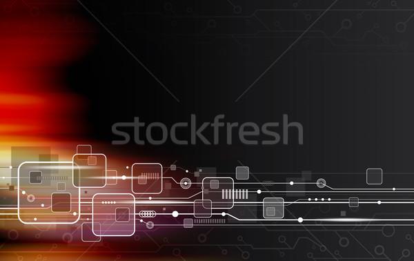Teknoloji dizayn soyut arka plan kırmızı siyah Stok fotoğraf © myimagine