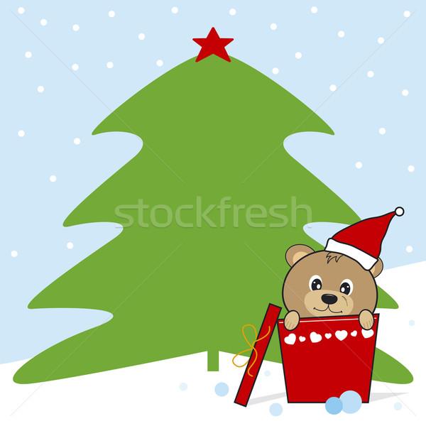 Noel dizayn kutu yeşil star kırmızı Stok fotoğraf © myimagine