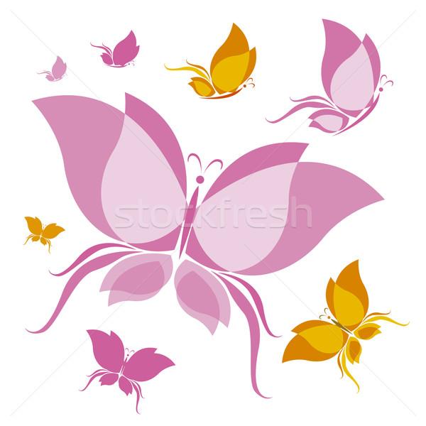 Kelebek dizayn doğa hayvan arka pembe Stok fotoğraf © myimagine