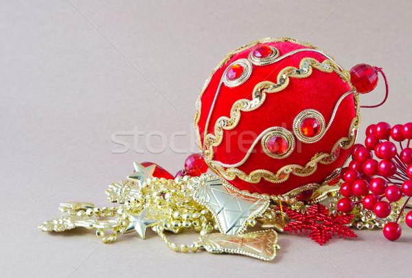 Noel dekorasyon parti kırmızı altın kutlama Stok fotoğraf © myimagine