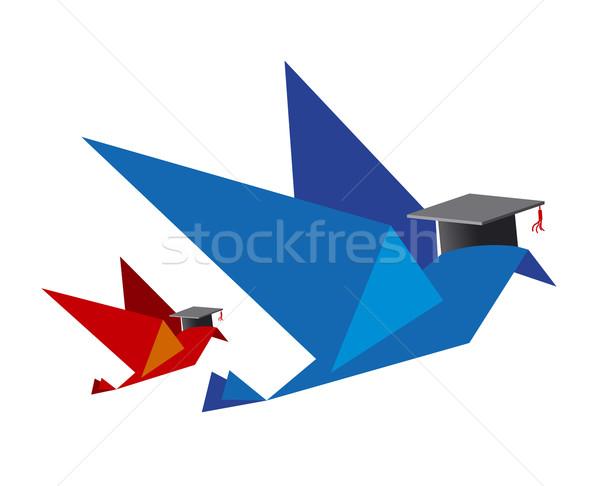 Kuş eğitim kâğıt çalışma mezuniyet başarı Stok fotoğraf © myimagine
