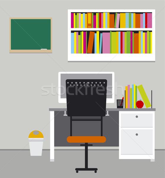 Eğitim bilgisayar kalem arka plan imzalamak tablo Stok fotoğraf © myimagine