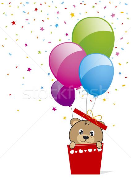 Ayı hediye kutusu dizayn hediye kart balon Stok fotoğraf © myimagine