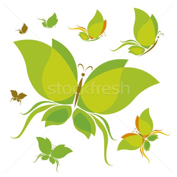 Kelebek dizayn ekoloji kavramlar doğa yeşil Stok fotoğraf © myimagine