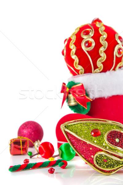 Noel dekorasyon arka plan kırmızı altın şerit Stok fotoğraf © myimagine