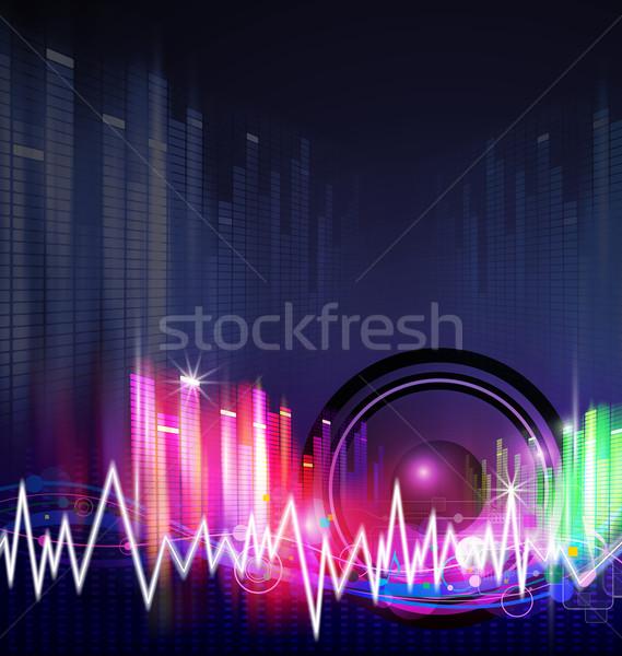 Zene háttér terv hullám digitális hang Stock fotó © myimagine