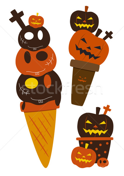Halloween dondurma parti dizayn çikolata kafatası Stok fotoğraf © myimagine
