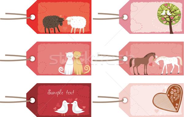 Valentin nap címkék fa szív macska pár Stock fotó © MyosotisRock