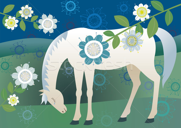 Bastante triste cavalo flor chorar branco Foto stock © MyosotisRock