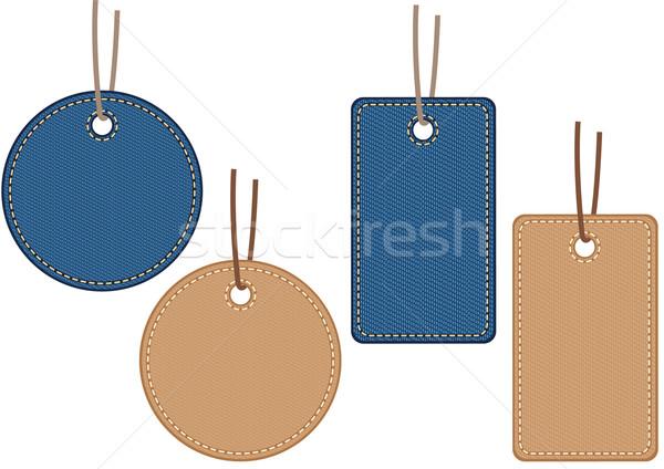 Denim patroon verkoop textiel label Stockfoto © MyosotisRock