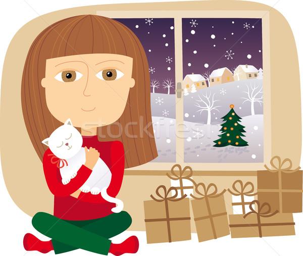 Natal noite casa menina árvore criança Foto stock © MyosotisRock