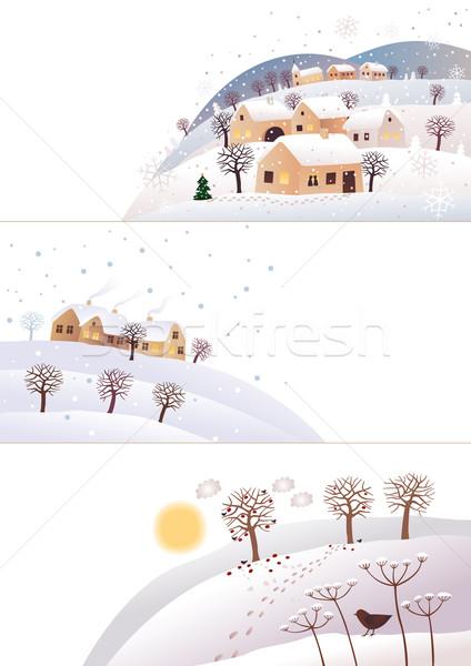 Winter hoeken natuur drie maanden huis Stockfoto © MyosotisRock
