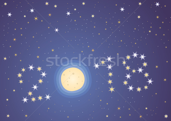 Bom ano estrelas lua ano novo céu Foto stock © MyosotisRock