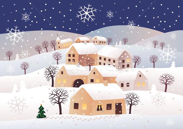 Stock fotó: Karácsony · éjszaka · csendes · fa · hó · tél