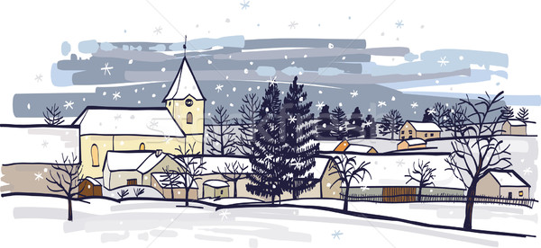 Hiver village vecteur image dessin graphique Photo stock © MyosotisRock