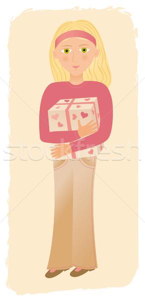 Girl with a box Stock photo © MyosotisRock