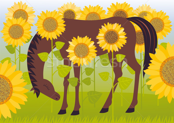 Horse in sunflowers Stock photo © MyosotisRock