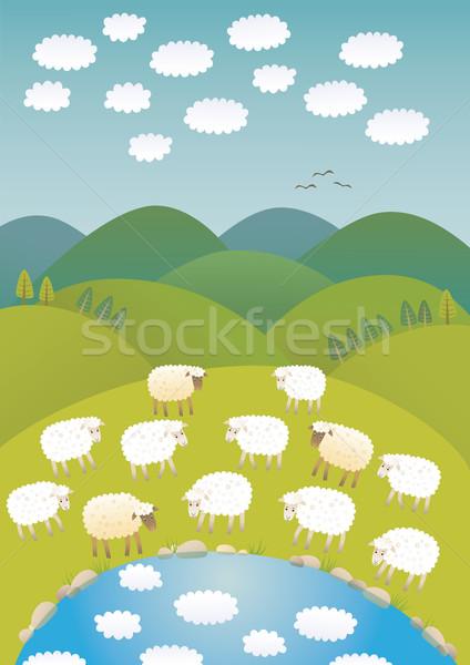 Sheep and clouds Stock photo © MyosotisRock