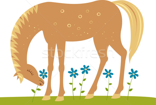 Stock photo: Horse and flowers