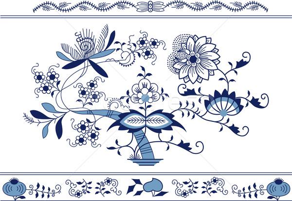 Bloem kunst Blauw schilderij retro patroon Stockfoto © MyosotisRock