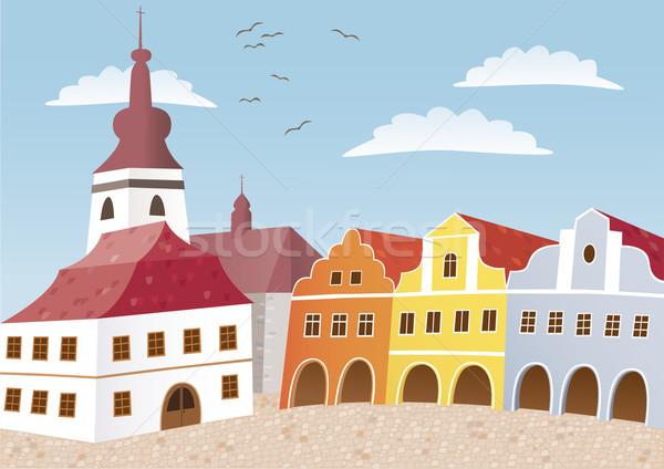 町 広場 チェコ語 典型的な 自由奔放な ストックフォト © MyosotisRock