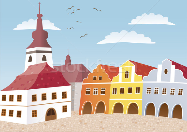Cidade praça pequeno tcheco típico boêmio Foto stock © MyosotisRock