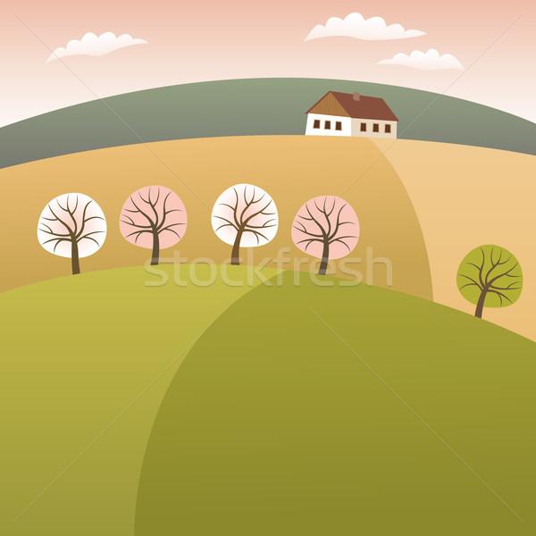 Casa primavera campo fazenda nuvem Foto stock © MyosotisRock