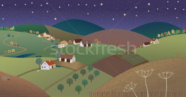 Noite jeans paisagem casa fogo fruto Foto stock © MyosotisRock