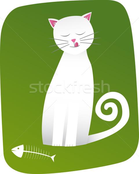 Macska fehér szálka hal zöld béke Stock fotó © MyosotisRock