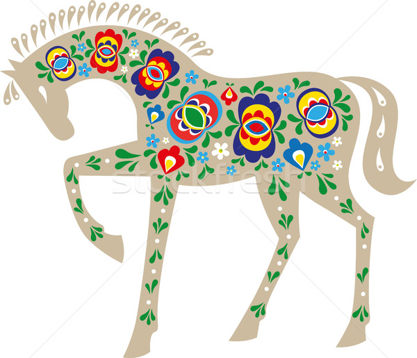 Horse with folk ornaments Stock photo © MyosotisRock