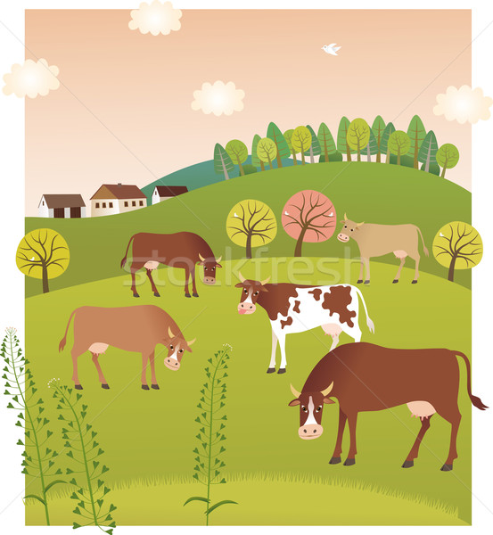 весны коров дома трава лес красоту Сток-фото © MyosotisRock