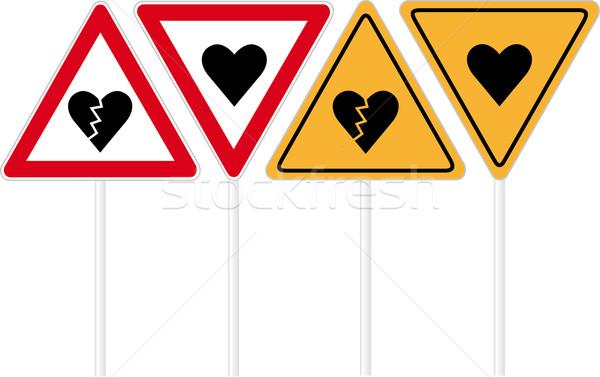 Hart verkeersbord liefde weg metaal communicatie Stockfoto © MyosotisRock