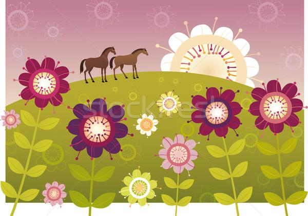 Violeta jardim de flores primavera amor cavalo folha Foto stock © MyosotisRock