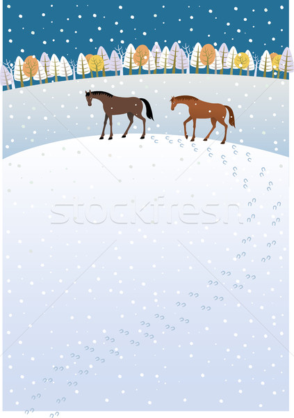 Stock photo: Tracks in the snow