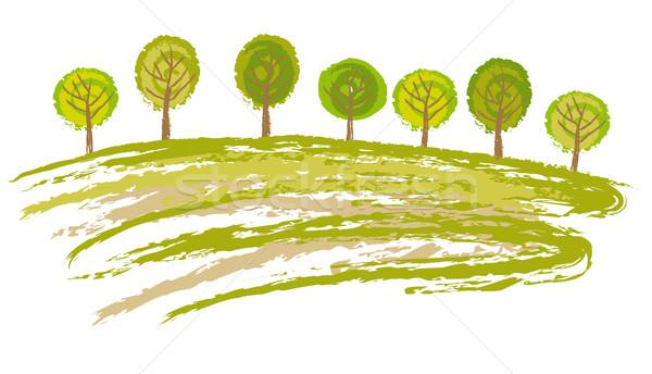Voorjaar scène boom zomer veld schilderij Stockfoto © MyosotisRock