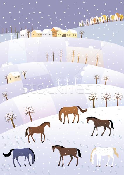 зима холмы сельского хозяйства лошади пейзаж синий Сток-фото © MyosotisRock