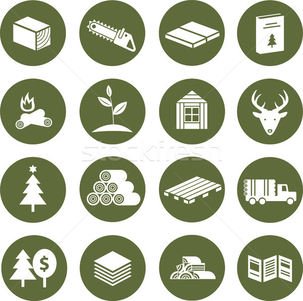 Stock photo: Icons forestry