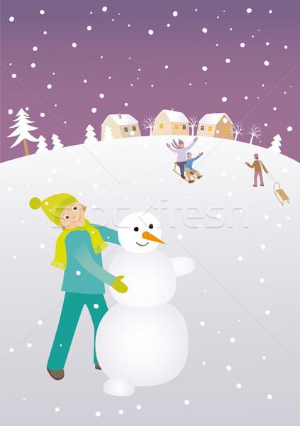 Building a snowman Stock photo © MyosotisRock
