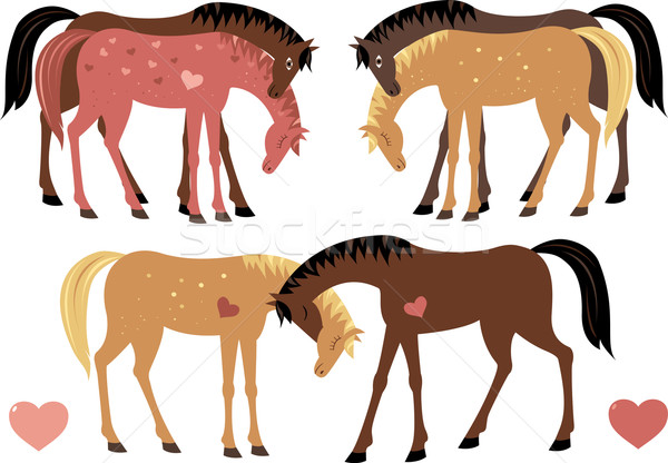 Horses in love (set) Stock photo © MyosotisRock