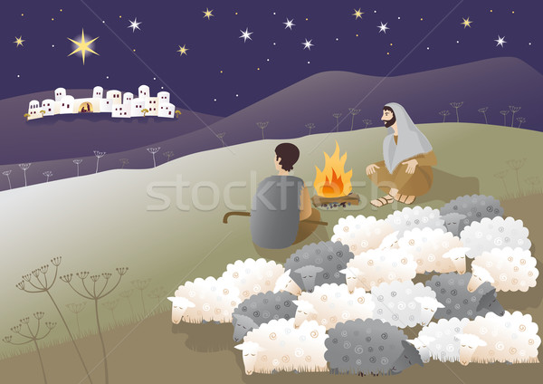 Stock photo: Birth of Messiah and shepherds