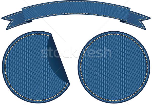 Denim stickers patroon verkoop textiel label Stockfoto © MyosotisRock