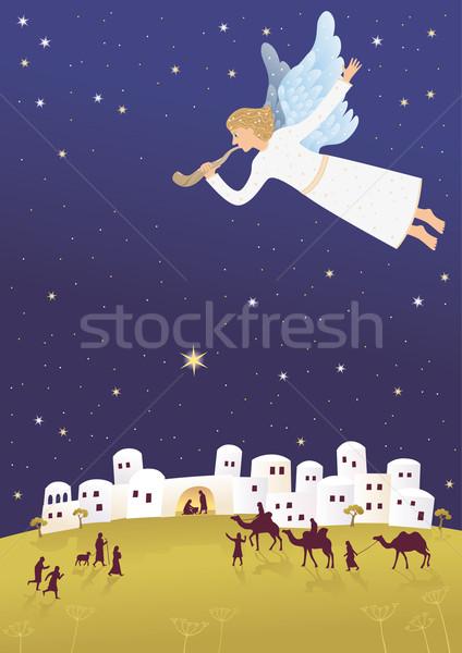 Urodzenia Jezusa anioł dobrą wiadomością niebo Zdjęcia stock © MyosotisRock